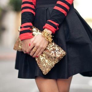 Handbags - Gold Sequin Foldover Clutch